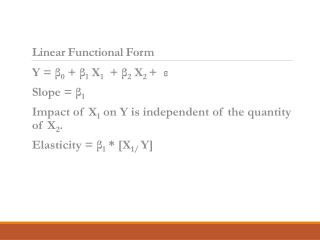 Linear Functional Form