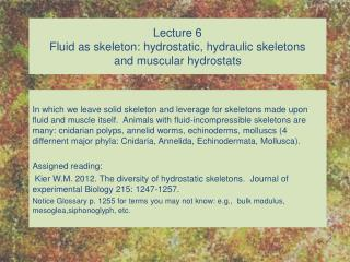 Lecture 6 Fluid as skeleton: hydrostatic, hydraulic skeletons and muscular hydrostats