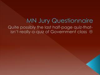 MN Jury Questionnaire