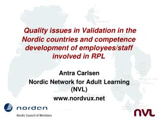 Antra Carlsen Nordic Network for Adult Learning (NVL) nordvux