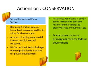 Actions on : CONSERVATION