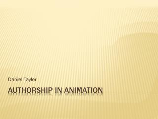 Authorship In Animation