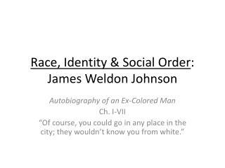 Race, Identity & Social Order : James Weldon Johnson