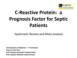 C-Reactive Protein:  a  Prognosis Factor for Septic Patients Systematic Review and Meta-analysis
