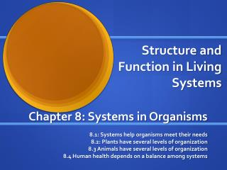 Structure and Function in Living Systems