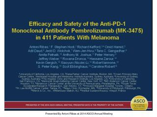 Presented By Antoni Ribas at 2014 ASCO Annual Meeting