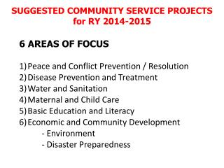 SUGGESTED COMMUNITY SERVICE PROJECTS  for RY 2014-2015