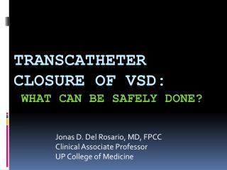 Transcatheter Closure of VSD: What can be safely done?