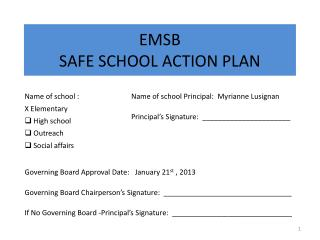 EMSB SAFE SCHOOL ACTION PLAN