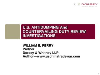 U.S. ANTIDUMPING And COUNTERVAILING DUTY REVIEW INVESTIGATIONS