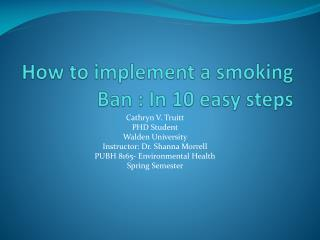 How to implement a smoking Ban : In 10 easy steps