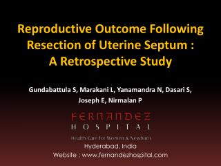 Reproductive Outcome Following Resection of Uterine Septum :  A Retrospective Study