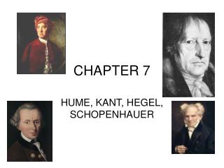 HUME, KANT, HEGEL, SCHOPENHAUER