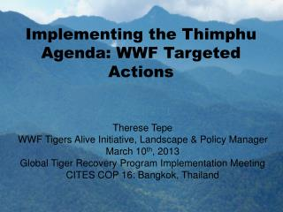 Implementing the Thimphu Agenda: WWF Targeted Actions