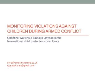 Monitoring violations against children during armed conflict