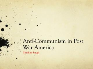 Anti-Communism in Post War America