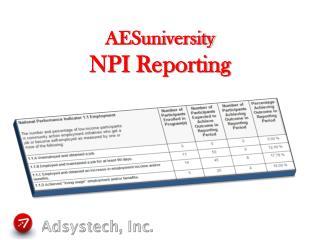 AESuniversity NPI Reporting