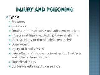 Injury and poisoning
