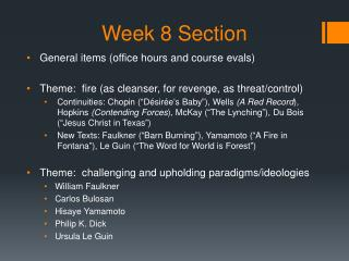 Week 8 Section