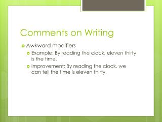 Comments on Writing