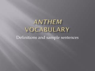 Anthem Vocabulary