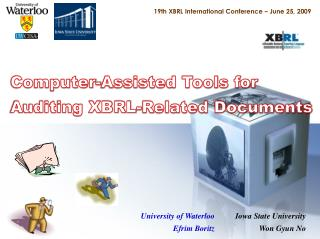 19th XBRL International Conference � June 25, 2009