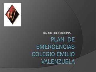 PLAN  DE EMERGENCIAS     COLEGIO EMILIO VALENZUELA