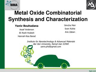 Metal Oxide Combinatorial Synthesis and  Characterization