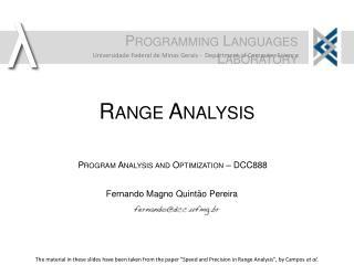Range Analysis
