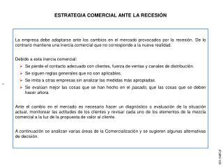 ESTRATEGIA COMERCIAL ANTE LA RECESIÓN