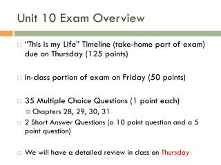 Unit 10 Exam Overview