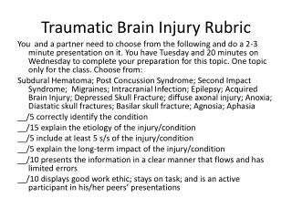 Traumatic Brain Injury Rubric