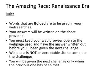 The Amazing Race: Renaissance Era