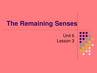 The Remaining Senses