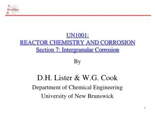 UN1001: REACTOR CHEMISTRY AND CORROSION Section 7: Intergranular Corrosion