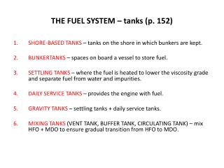 THE FUEL SYSTEM – tanks (p. 152)