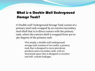 What is a Double Wall Underground Storage Tank?