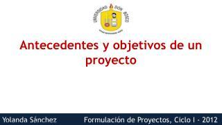 Antecedentes y objetivos de un proyecto