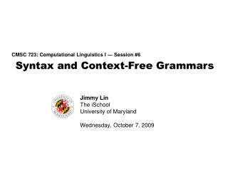 Syntax and Context-Free Grammars