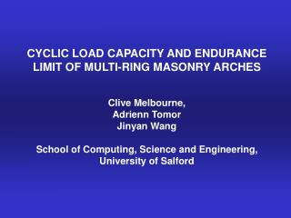 CYCLIC LOAD CAPACITY AND ENDURANCE LIMIT OF MULTI-RING MASONRY ARCHES   Clive Melbourne,  Adrienn Tomor  Jinyan Wang  Sc