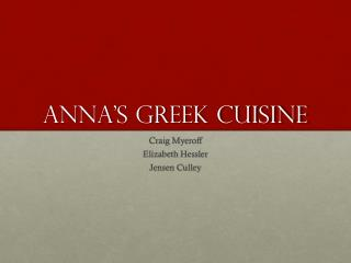 Anna's Greek Cuisine