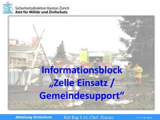 """Informationsblock """" Zelle  Einsatz / Gemeindesupport"""""""