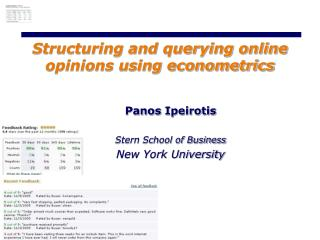 Structuring and querying online opinions using econometrics