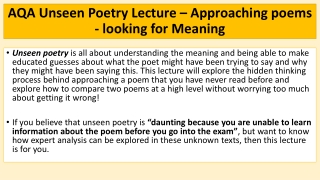Specific Form of Writing: Definition Poetry