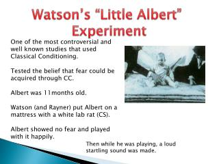 """Watson's """"Little Albert""""  Experiment"""