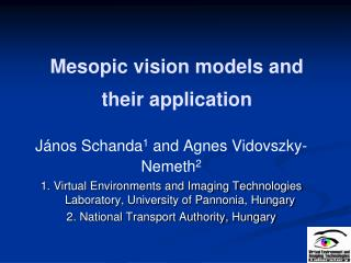 Mesopic vision models and their application