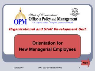 Organizational and Staff Development Unit
