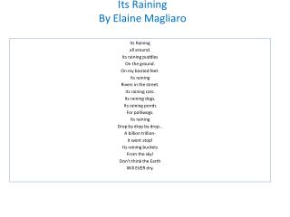Its Raining By Elaine  Magliaro