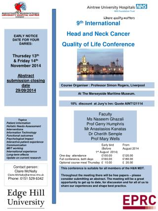 9 th  International Head and Neck Cancer  Quality of Life Conference