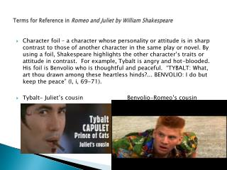 Terms for Reference in  Romeo and Juliet by William Shakespeare